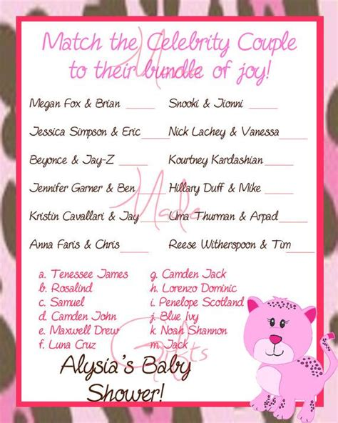 printable games couples printable celebrity couples baby shower game