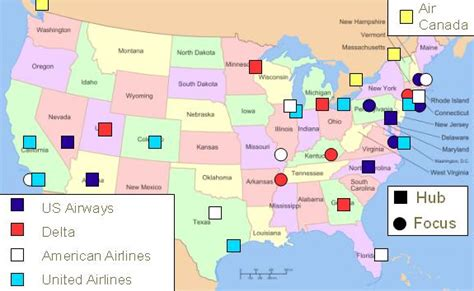 Airline Hubs Of North America Kids Maps | file north american airline hubs map jpg