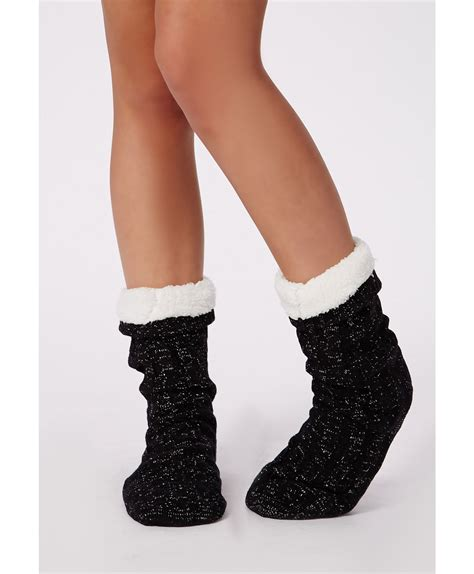 chunky slipper socks missguided chunky cable knit slipper socks black in black