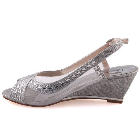 silver sandals womens unze womens shaheny wedge wedding sandals uk size 3 8
