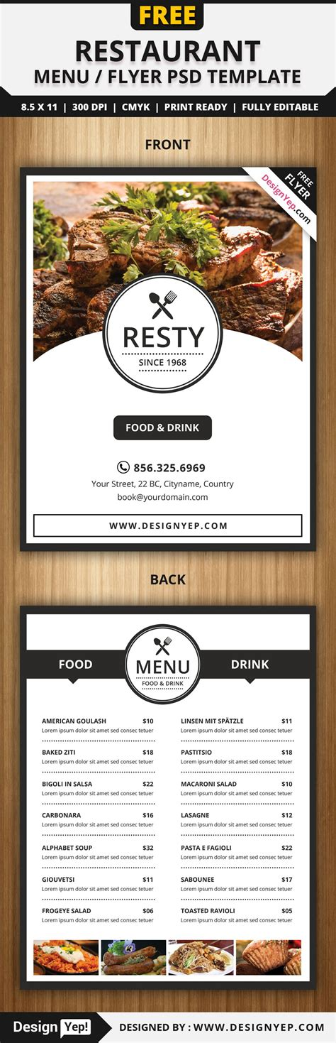 free templates for restaurant flyers free restaurant menu flyer psd template free flyers