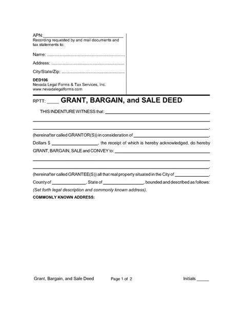 GRANT, BARGAIN, AND SALE DEED   Nevada Legal Forms & Tax
