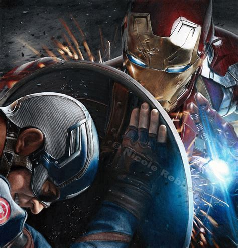 captain america vs ironman hd wallpaper iron man vs captain america drawing by quelchii on