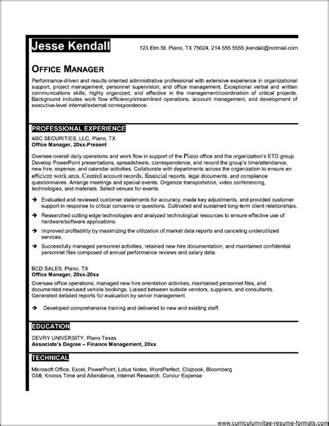 resume sles office management resume sles for