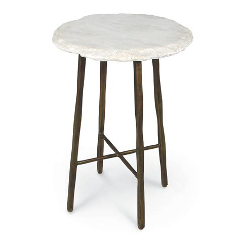 White Marble Side Table by Palecek