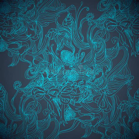 magic pattern background magic blue hand drawing seamless background stock vector