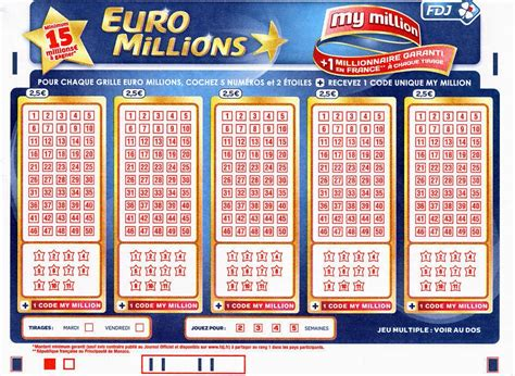 Grille Million fdj my million l atout suppl 233 mentaire de l euromillions