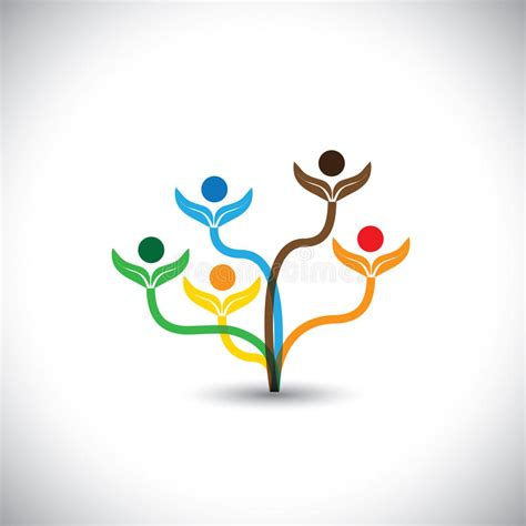 Eco Vector Icon Family Tree And Teamwork Concept Stock Vector Illustration Of People Help Teamwork Tree Logo Vector Stock Vector Illustration Of Ecology Leafs 34023988