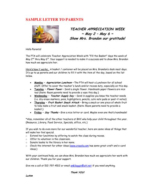 letter to parents appreciation week best photos of student appreciation letter template