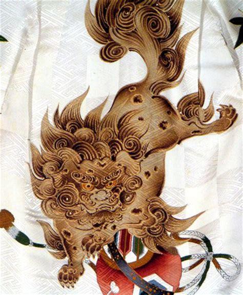 shi shi dogs japanese textile framed