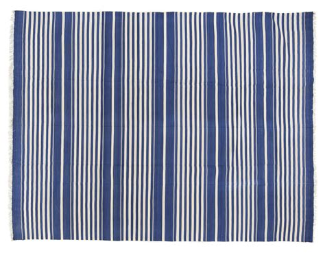 striped dhurrie rugs blue white striped dhurrie 7 9 x 10 1 seret and sons