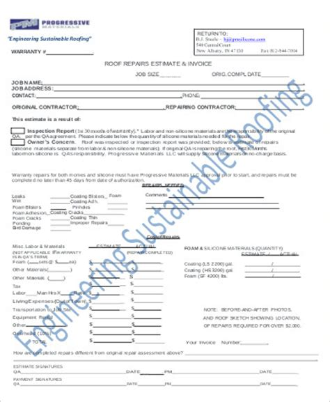 estimate invoice estimate invoice sle 7 exles in word pdf