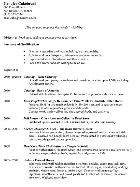 chef cv exles resume sle food prep baking or counter person