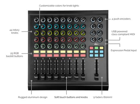 livid color midi controller with loads of faders knobs app support