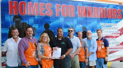palm bay home depot gives 8 000 to homes for warriors