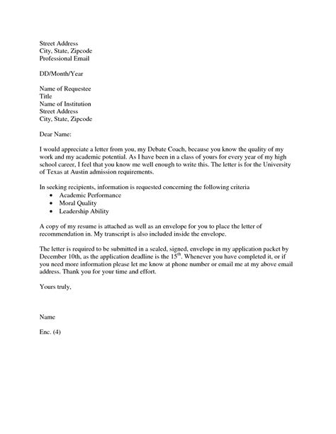 sle of recommendation letter request cover letter