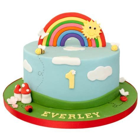 Rainbow 1st Birthday Cake