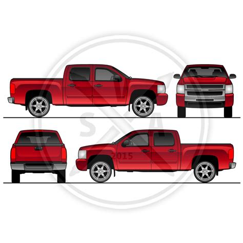 Silverado Crew Cab Pickup Truck Template Stock Vector Art Ford F150 Wrap Template