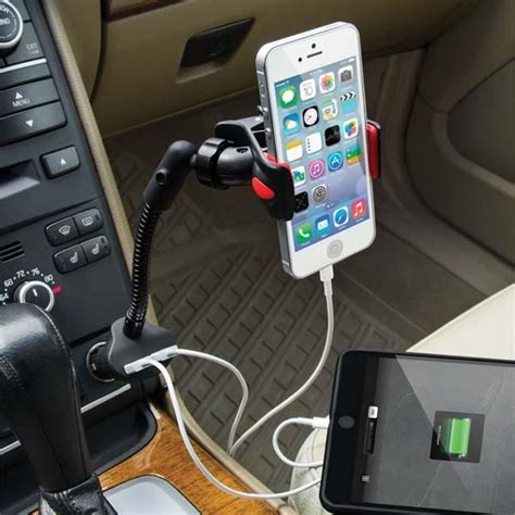the dual usb car charger with phone holder gadgetsin