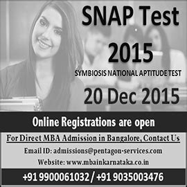 Snap Test For Mba by Snap Test 2015 Dates Symbiosis National Aptitude Test Mba