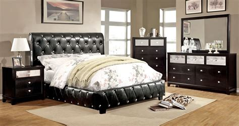 black leather bedroom set kelsey black leather platform bed