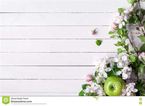 Wedding Background Apple Green by Wooden Background With White Blossoms And Green Apples