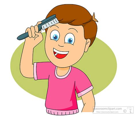 Hair For Boys Free by Boy Combing Hair Clipart