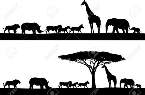 Afika Syari Black letras de animales salvajes buscar con la sabana animal silhouette