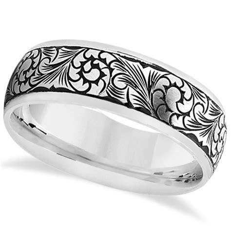 fancy engraved flower design wedding band in platinum
