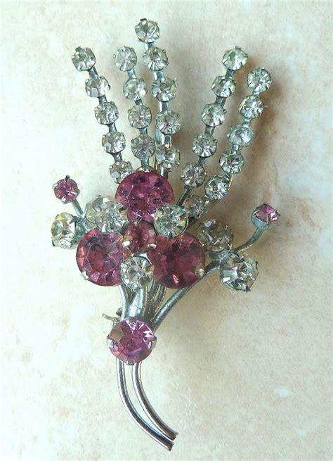 Rhinestone Clear vintage pink and clear rhinestone brooch
