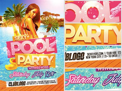 sexy pool party flyer template flyerheroes