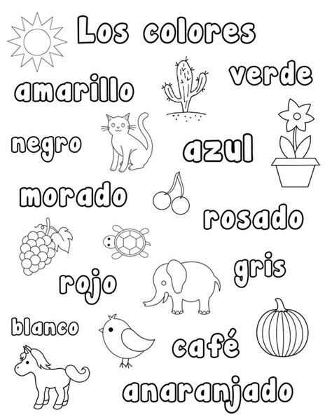 coloring pages with spanish words common worksheets 187 spanish color worksheets preschool