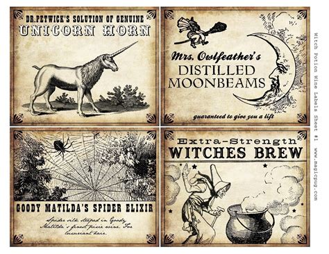 printable potion labels witch wine labels 4x5 digital collage sheet for by magicpug
