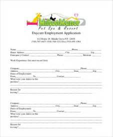 Child Care Employment Application Template by Sle Employment Application Form 9 Free Documents In