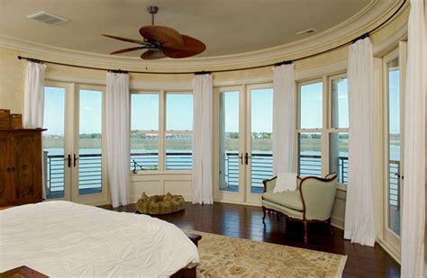 Bay Window Drapery Hardware Curved Window Wall Creates Panorama Of The River