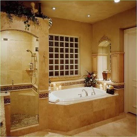 traditional bathroom decorating ideas side by side shower and tub frosted glass cubes tub