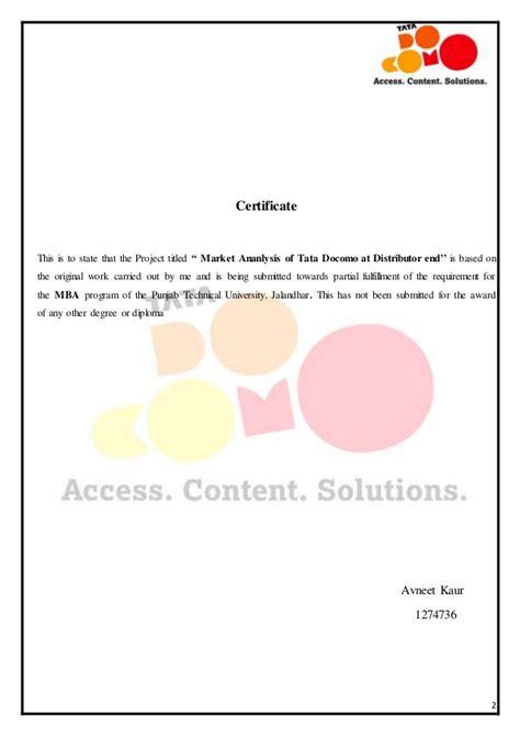 Work Experience Certificate In Kolkata Market Analysis Of Tata Docomo