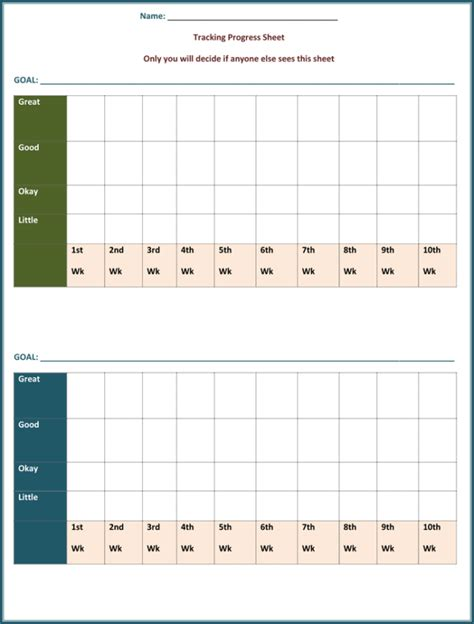 Goal Tracking Template 6 Plus Forms And Worksheets Goal Tracker Template