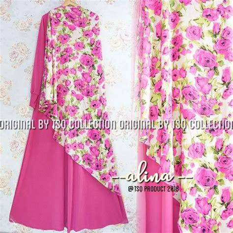 118595 Syari Pesta Calesta Pink Limited baju muslim setelan alina syari gamis remaja modern cantik