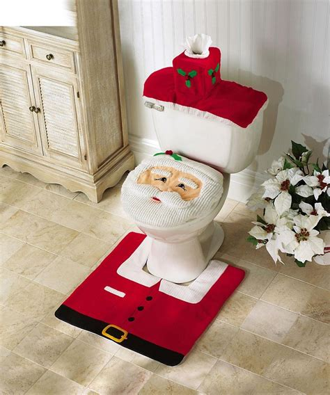 santa toilet seat cover and rug set santa toilet seat cover and rug set