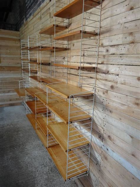 items similar to vintage string shelving unit wall mid xxl string 1950s wall shelving unit with 22 shelves and a