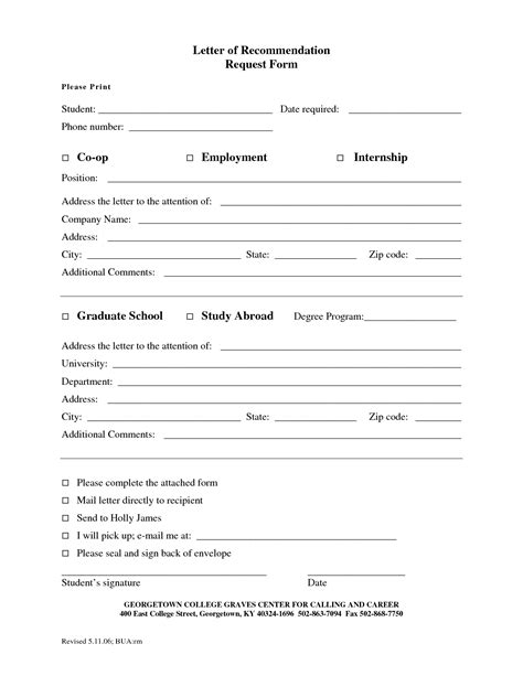 Letter Of Recommendation Request Form Template best photos of student recommendation form template