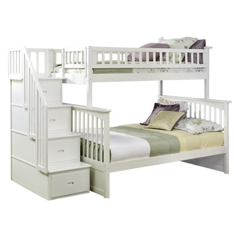 White Bunk Bed With Stairs White Classic Arch Slatted Bunk Bed With Stairs Rosenberryrooms