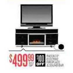 pacer electric fireplace sound bar at value city black