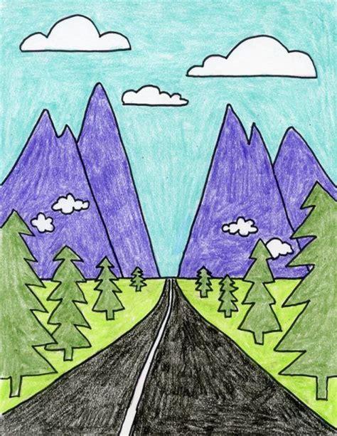 draw perspective landscape art kids