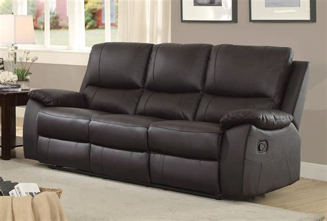 brown leather reclining couch homelegance greeley top grain brown leather double