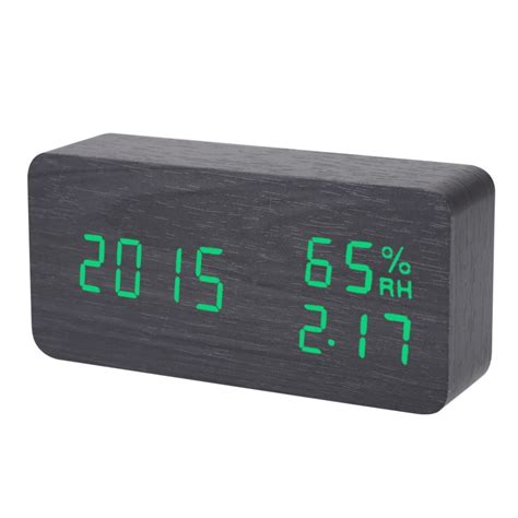 digital led alarm clock sound voice light digital led time humidity display wooden alarm