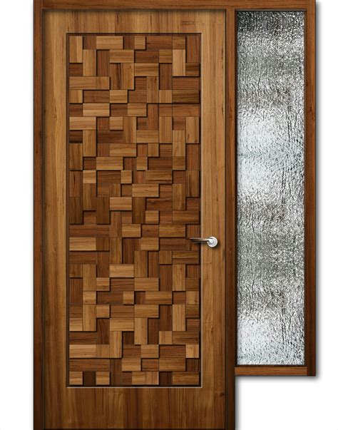 wood design teak wood finish wooden door with window 8feet height