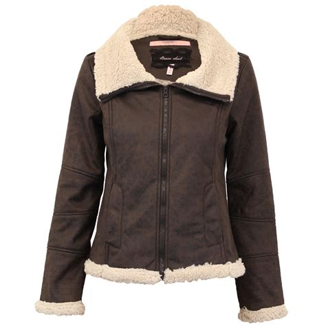 Seoul Blazer Jaket Coat biker jacket brave soul coat pu pvc fur leather look sherpa lined winter ebay