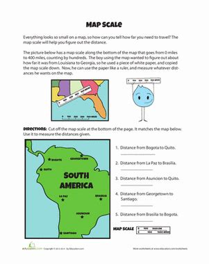 Using Scale On A Map Worksheet by Map Scales Worksheet Education
